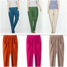 Assorted Colors Womens Linen Hareem Harem Pants Elastic Waist Ladies Trousers