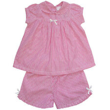 NEW 100% Cotton BeautifulGirls Pink/White Striped Top & Shorts Set For 2-7 Years