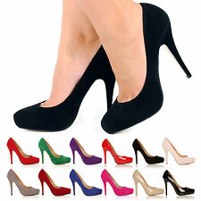WOMENS LADIES HIGH HEEL PUMPS MINI PLATFORM WORK COURT OFFICE SHOES SIZE 3-8