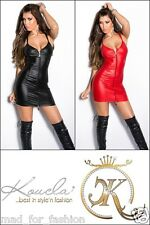 SEXY LATEX LOOK GOGO CLUBBING MINI DRESS WITH FULL FRONT ZIP.