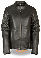 Womens Black Leather Zipper Scooter Jacket w Snap Collar and Gun Pockets