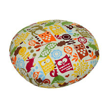 le08n Orange Olive Yellow Owl On Beige Cotton Canvas Round Shape Cushion Cover