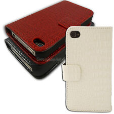 Crocodile Faux Leather Wallet Cover for Apple iPhone 4S 4 Case