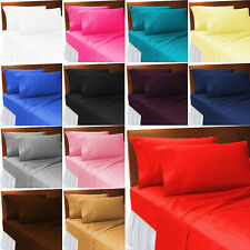 PLAIN FITTED BED SHEETS DYED 100% POLYCOTTON SINGLE DOUBLE KING BED SHEET SOFT