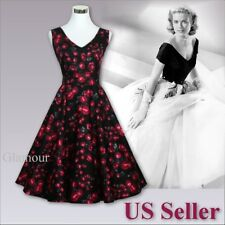 New 50s Women's Sex V-Neck Party Prom Retro Dress Size US2-14 High Quality