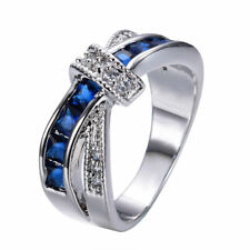Jewelry  Fashion lady's 10kt white Gold filled sapphire ring size 6 free