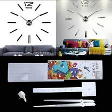 V1NF DIY Large Wall Clock 3D Sticker Big Watch Home Room Decor Unique Gift