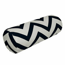 le01g Black Off White Zig Zag Cotton Canvas Yoga Case Bolster Cushion Cover