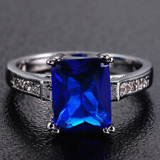 Size 6-9 Fancy Jewelry Lady White Gold Filled Square Blue Tanzanite Wedding Ring