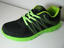 Mens Air Tech Lot 1 Sprint Black & Neon Green Casual Lace Up Trainers