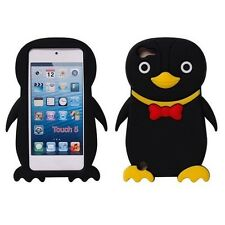 Silicone Gel Case Cover Cute Penguin Black Yellow Skin For iPod Touch 5 5th 5G