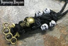 PARACORD PIRATE SKULL & BRASS KNUCKLE W/ SKULLS LANYARDS FITS BENCHMADE SPYDERCO