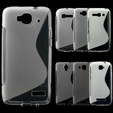Housse Etui Coque design vague S-Line case pour smartphones ALCATEL -Transparent