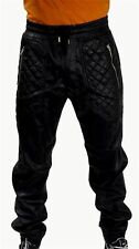 New Men's Black PU Faux Leather Joggers Quilted Zipper Pockets w/ Drawstring