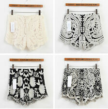Hot! Womens Korean Sweet Sheer Crochet Tiered Lace Shorts Skorts Pants  M