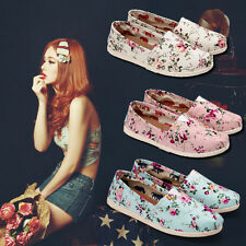 Fashion Women Lady Slip On Flat Floral Canvas Shoes Shallow Mouth Shoes New