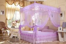 4 Corners No Poles Canopy Bed CURTAIN Mosquito Net Full Queen King Size Bedding