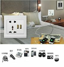 New Dual USB Port 1A Wall Charger Station Socket Adapter Power Outlet Panel UK