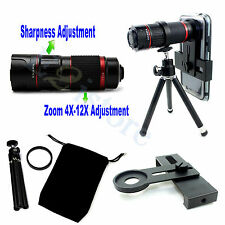 4-12X Zoom Telescope Phone Aluminum Camera Lens + Len Tripod Clip Holder kits