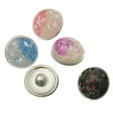 Wholesale Lots Resin Snap Buttons Fit Snap Bracelets Pattern Mixed DIY 20mm