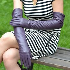 "55cm(21.6"")long real leather evening/eblow gloves*Dark purple sizeM"