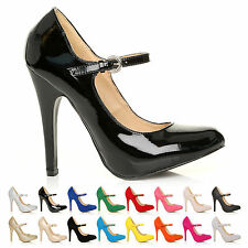 NEW LADIES CLASSIC MARY JANE HIGH HEEL STILETTO COURT SHOES SIZE UK 3 4 5 6 7 8