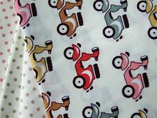 IVORY multi VESPAS SCOOTERS 100% COTTON poplin material for craft bunting dress