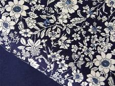 NAVY white vintage FLORAL 100% COTTON poplin material for craft bunting dress