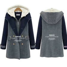 Fashion Women's Outerwear Slim-fitting Double-breasted Hooded Md-Long Tweed Coat