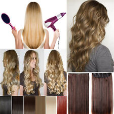 clip in synthetic hair extensions one piece thick half full head remy wavy style