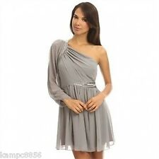 New Lipsy Silver Grey One Sleeve Embellished Pearl Beaded Sequin Dress Sz 10