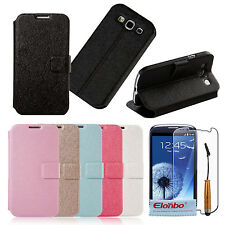 Luxury Silk Stripe PU Wallet Flip Stand Case Cover For Samsung Galaxy S3 i9300