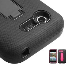Impact Rubberized Case +Stand for LG L34C Optimus Fuel, VS415PP Optimus Zone 2
