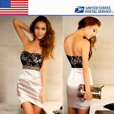 Stylish Women's Strapless Jewels Cocktail Party Mini Dress Hot US Local Delivery