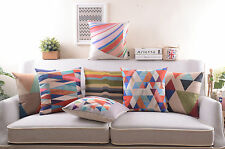 "18"" Saqure Chic Cotton Linen Pillow Case Home Decor Sofa Cushion Cover 7 Choices"