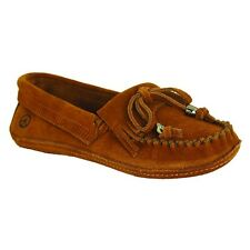 Old Friend Women's Megan Suede Slip On Moccasin Slipper Shoes Chocolate PM447300