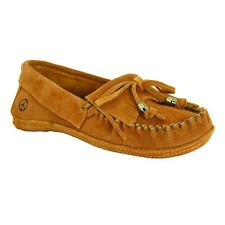 Old Friend Women's Megan Suede Slip On Moccasin Slipper Shoes Tan PM447300
