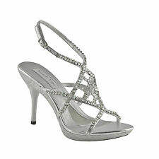 Trinity Silver Cyrstal Strappy High Heel Bridal Wedding Shoes (U6T1)