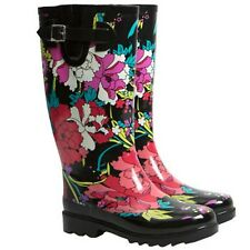 Sakroots Ladies' Faux Fur Lined Waterproof Rainboots - Pink Flower PICK SIZE NEW
