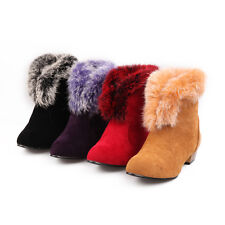 2014 womens fur trim pull on block heels winter warm ankle boots shoes plus size