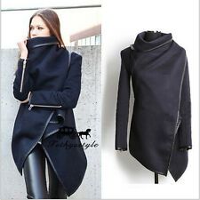 Fashion Womens Zipper PU Warm Long Coat Jacket Trench Windbreaker Parka Outwear