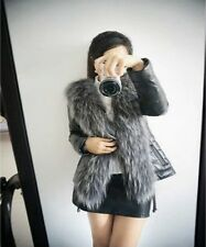 Fasion Special Offer Button Solid Design Female Fox Fur Vest Leather Outerwear