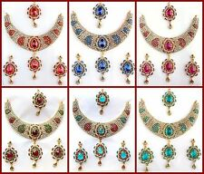 Bollywood Statement Gold Necklace Earrings Set / Indian Wedding Jewelry 4 Colors