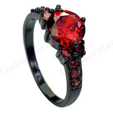New price_Jewelry Sz 6/7/8/9/10 Lady's10KT Black Gold Filled ruby Ring box free