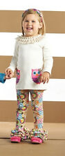 Mud Pie Forest Friends Owl Tunic & Legging Set Girl 3M-5T #1112183