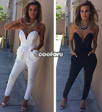 Women's Fashion Casual Deep V-neck Overall Rompers Jumpsuit Slim Pants Trousers