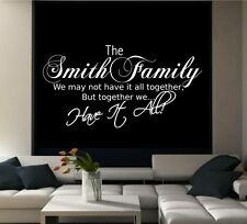Personalised Family Name Wall Art Quote Phrase Sticker Mural Decal Transfer