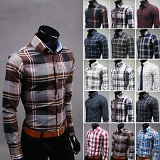 New  Mens Fashion Button Plaids Luxury Casual Slim Fit Stylish Dress Shirts