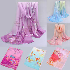 Women's Fashion Printed Flower Soft Silk Chiffon Neck Scarf Wrap Shawl Stole