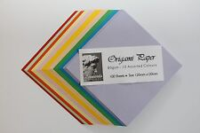 ORIGAMI PAPER. SMOOTH 80gsm. 100 DOUBLE SIDED ASSORTED COLOURED SHEETS. 2 SIZES.